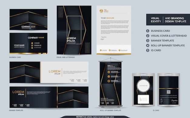 Conjunto de artigos de papelaria de ouro preto de luxo e identidade visual da marca com sobreposição abstrata camadas fundo.