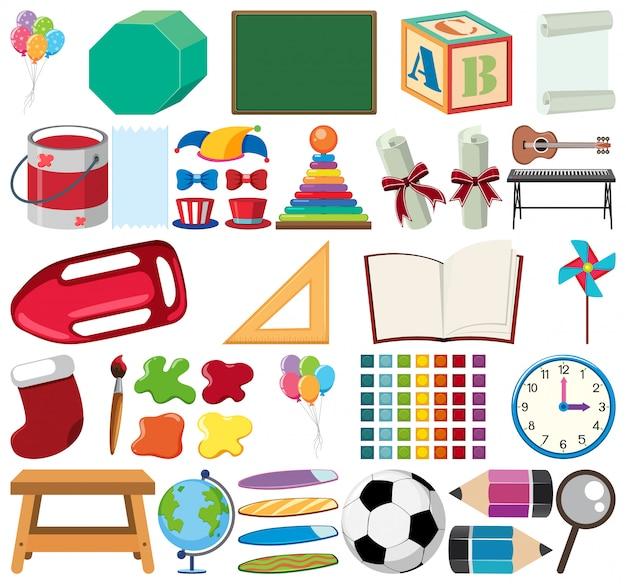 Conjunto de artigos de papelaria de tema de objetos isolados