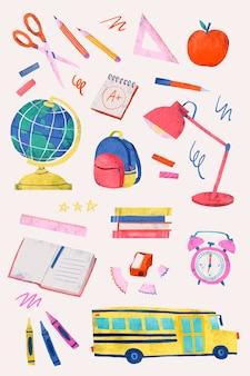Conjunto de artigos de papelaria de volta à escola