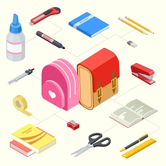 Conjunto de artigos de papelaria e mochilas escolares