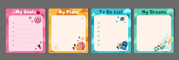 Conjunto de artigos de papelaria infantil com listas de tarefas para planejadores de memorandos e modelo de ilustrações fofas para planejadores