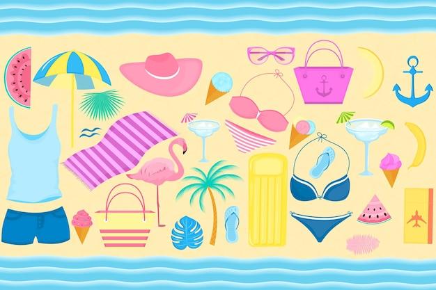 Conjunto de artigos decorativos de verão para férias na praia. fato de banho, flamingo, palmeira, rodelas de melancia, copos, gelados, salão insuflável, cocktail, chinelos, t-shirt.