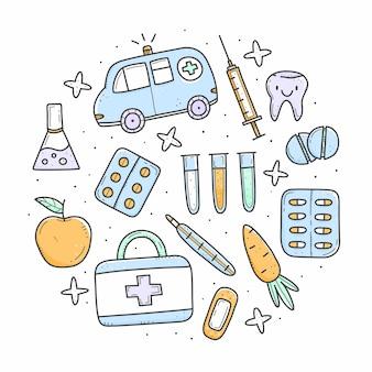 Conjunto de artigos médicos multicoloridos no estilo de doodle em forma de círculo