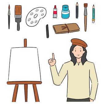 Conjunto de artista e equipamentos de arte