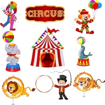 Conjunto de artistas de circo dos desenhos animados e animais