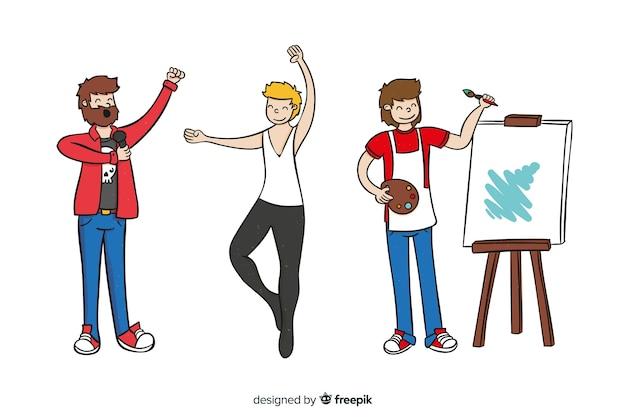 Conjunto de artistas de diferentes disciplinas. pintor, dançarino e cantor
