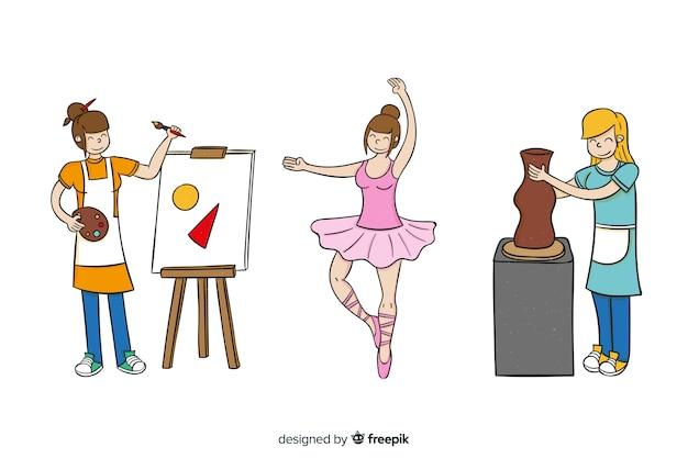 Conjunto de artistas de diferentes disciplinas. pintor, escultor e dançarino
