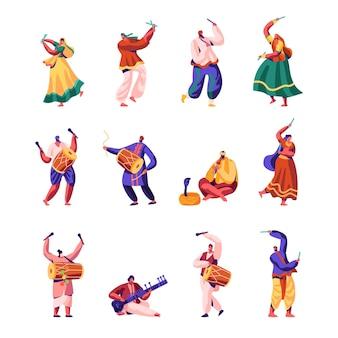 Conjunto de artistas de rua indianos.