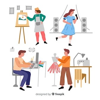 Conjunto de artistas no trabalho