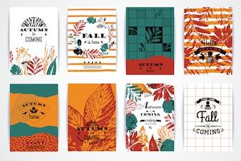 Conjunto de artísticos criativos cartões de outono.