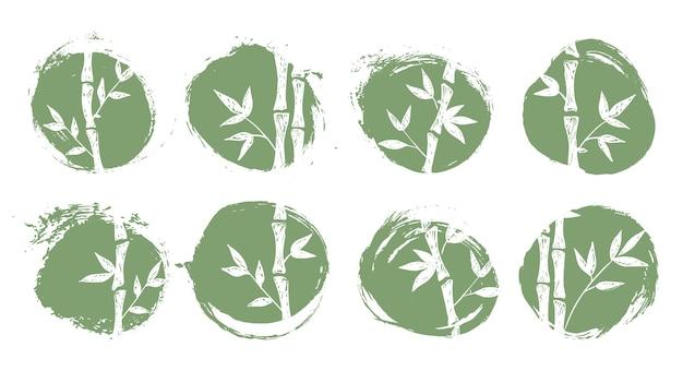 Conjunto de árvore de bambu desenho a tinta estilo desenhado à mão