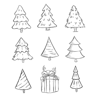 Conjunto de árvore de natal bonita com estilo doodle