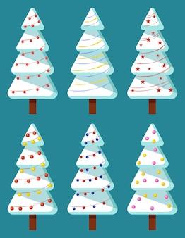 Conjunto de árvore de natal com festão