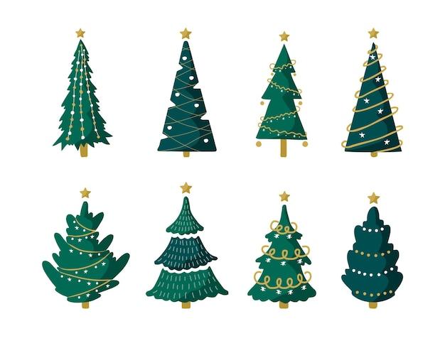 Conjunto de árvore de natal com guirlandas e bolas. elementos de design da temporada de inverno.
