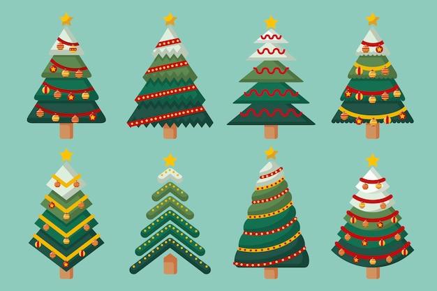 Conjunto de árvore de natal de design plano