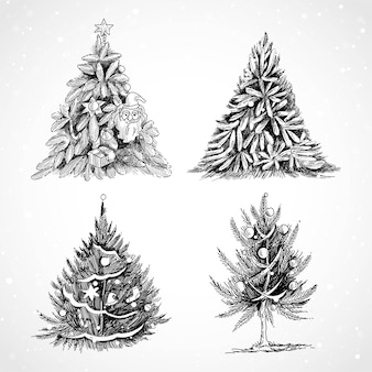 Conjunto de árvore de natal desenhada à mão