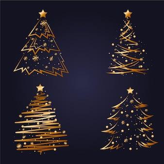 Conjunto de árvore de natal dourada plana