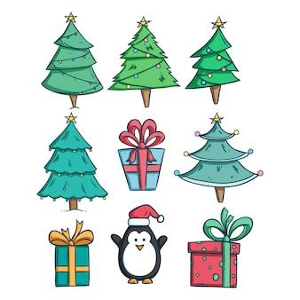 Conjunto de árvore de natal e caixa de presente com estilo doodle colorido