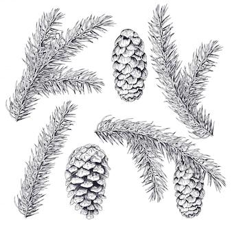 Conjunto de árvore de natal e cone. tinta de linha preta sobre fundo branco.