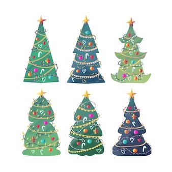 Conjunto de árvore de natal em aquarela