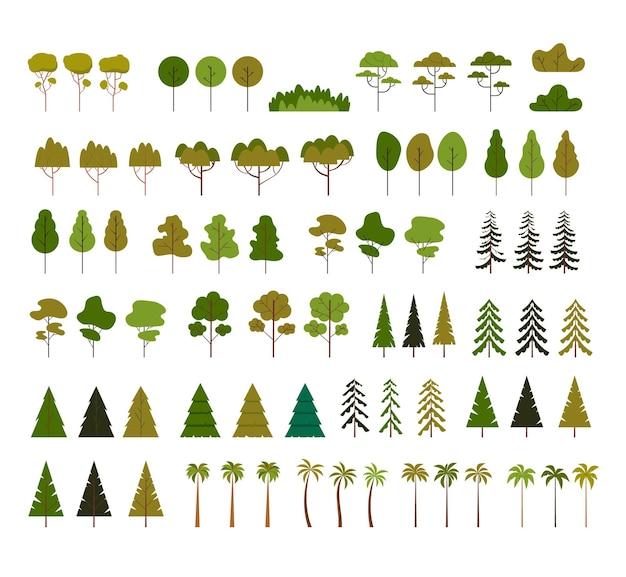 Conjunto de árvore decorativa verde isolada