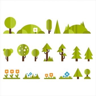 Conjunto de árvores, arbustos e flores em estilo simples