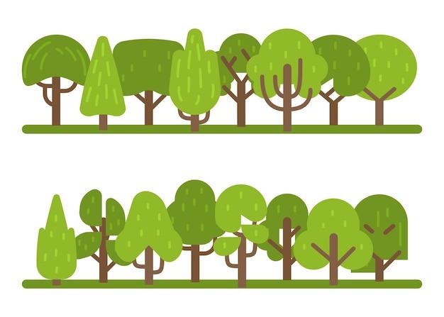 Conjunto de árvores. coleção de vários parques e florestas verdes, coleção de árvores em estilo moderno simples para design de composições arquitetônicas, símbolo de eco orgânico, ilustração vetorial de desenhos animados isolada