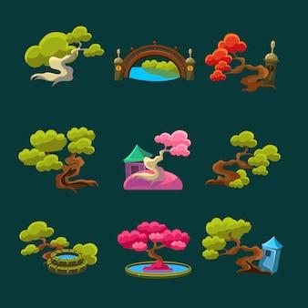 Conjunto de árvores de estilo japonês