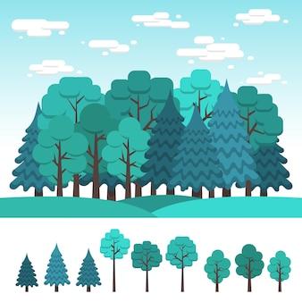 Conjunto de árvores de folha caduca e coníferas para o projeto da paisagem