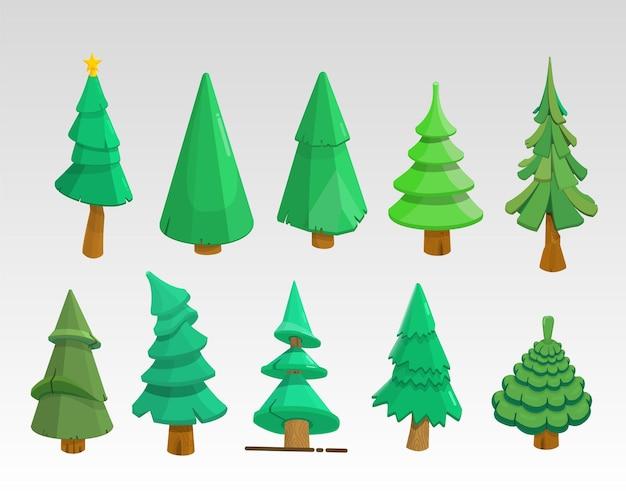 Conjunto de árvores de natal 3d, sem decorações, ícones de desenho animado desenhados