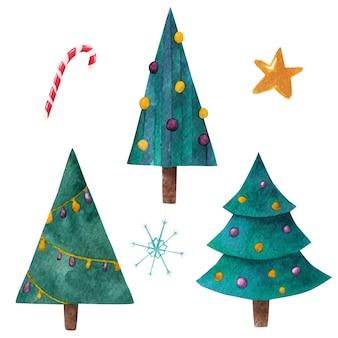 Conjunto de árvores de natal. aquarela