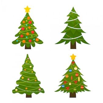 Conjunto de árvores de natal. árvore de inverno decorado com luzes garland, bolas de decoração e lâmpadas.