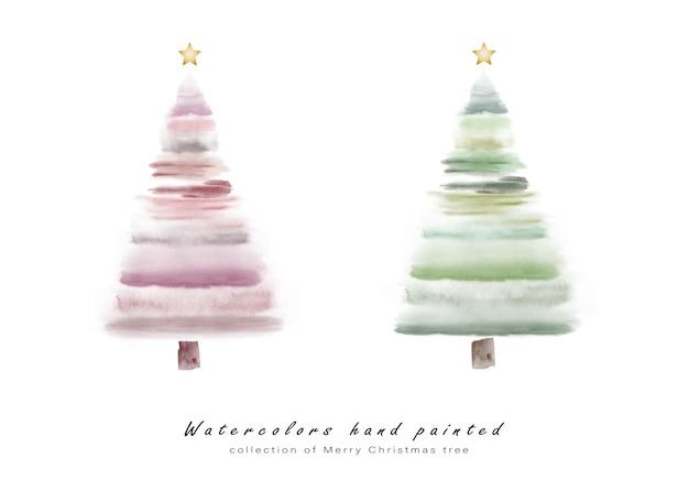 Conjunto de árvores de natal bonitos pintados à mão em aquarela para a criação de cartões. Vetor Premium