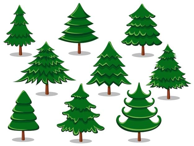 Conjunto de árvores de natal. coleção de feliz natal e ano novo. ilustração vetorial.