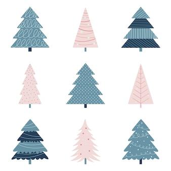 Conjunto de árvores de natal coloridas.
