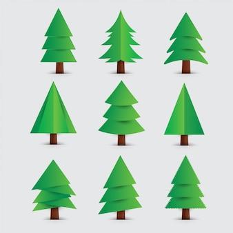 Conjunto de árvores de natal com estilo de corte de papel