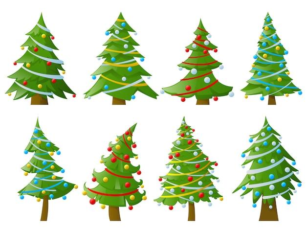 Conjunto de árvores de natal com guirlandas