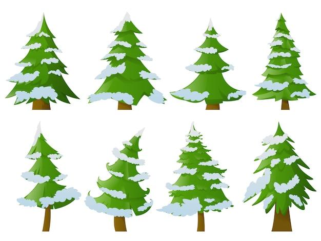 Conjunto de árvores de natal com neve