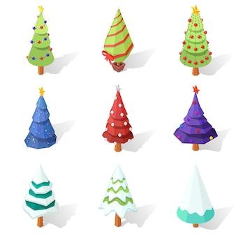 Conjunto de árvores de natal de baixo poli isoladas em um fundo branco.