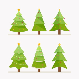 Conjunto de árvores de natal de design plano