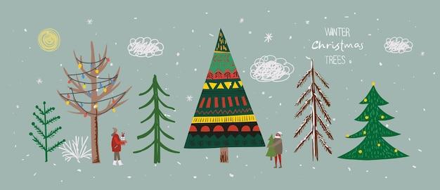 Conjunto de árvores de natal de inverno e sol neve floco de neve arbusto nuvem pessoas