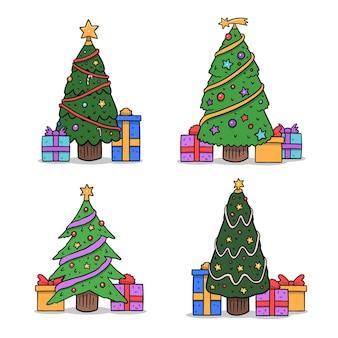 Conjunto de árvores de natal decoradas desenhadas à mão