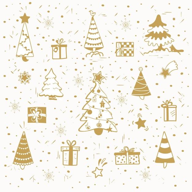 Conjunto de árvores de natal desenhadas à mão e elementos de design isolados de presentes para o natal e o ano novo
