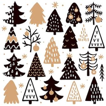 Conjunto de árvores de natal desenhadas à mão