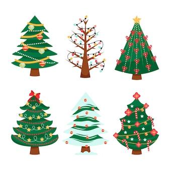 Conjunto de árvores de natal desenhadas Vetor Premium