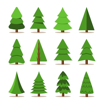 Conjunto de árvores de natal. feriado de inverno. coleção de ícones.