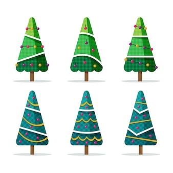 Conjunto de árvores de natal planas com enfeites