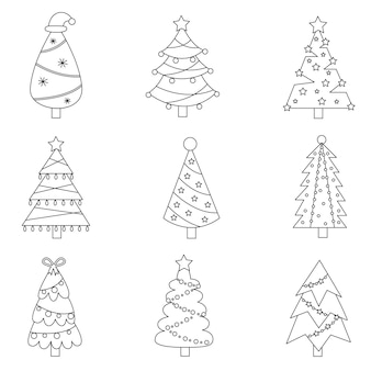 Conjunto de árvores de natal preto e branco. coleção de ilustrações.