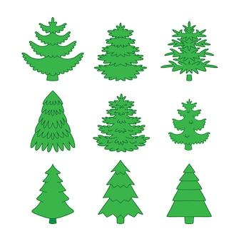 Conjunto de árvores de natal verdes