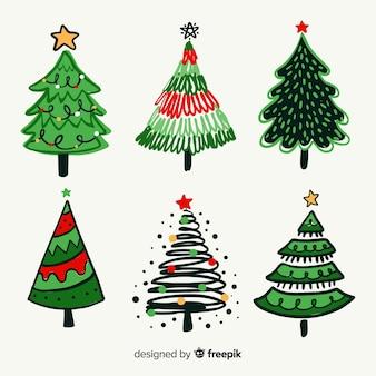 Conjunto de árvores de natal